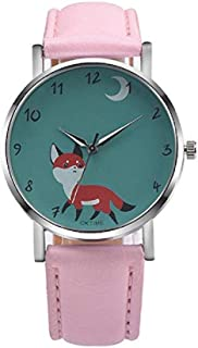 Fashion Clearance Watch! Noopvan Womens Quartz Watches Fox Female Watches on Sale Comfortable Leather Lady Watches-H76 (Pink)