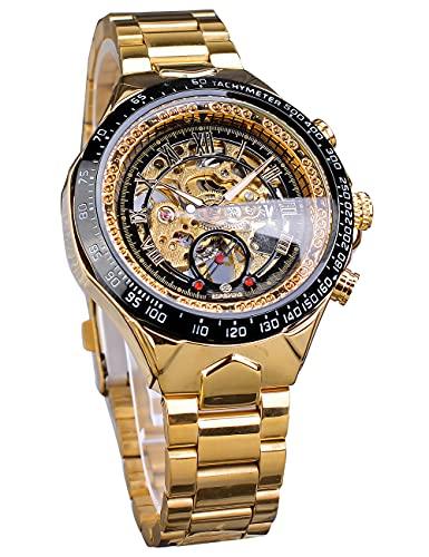 Ganador Big Esfera Esqueleto mecánico Reloj de Pulsera número Romano Reloj Deportivo diseño Golden Acero