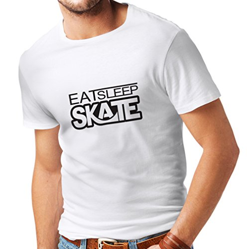 lepni.me Camisetas Hombre Coma - sueño - patín - para los Patinadores, skateboardboard, Skateboard Gifts (XXX-Large Blanco Negro)