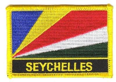 Flaggen Aufnäher Patch Seychellen Schrift Fahne NEU