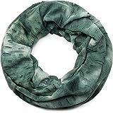 styleBREAKER fular de tubo en diseño batik desgastado, apariencia usada vintage, chal, pañuelo, unisex 01017040, color:verde