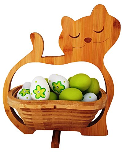 CleanPrince > GATOS < Cesta plegable 30 x 30 cm Bambú Madera de Cuenco Frutero Frutas Decoración Tazón fuente vegetal Platillo pascua