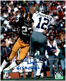 TSE Mike Wagner Autographed Tackling Roger Staubach 8x10 Photo with 4X SB Champs