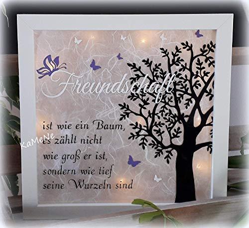 """beleuchteter Bilderrahmen 3D Leuchtrahmen LED\""""Freundschaft ist wie ein Baum.\"""" Geschenk zum Geburstag Jugendweihe Geburt Taufe Hochzeit Weihnachten Geschenkidee"""