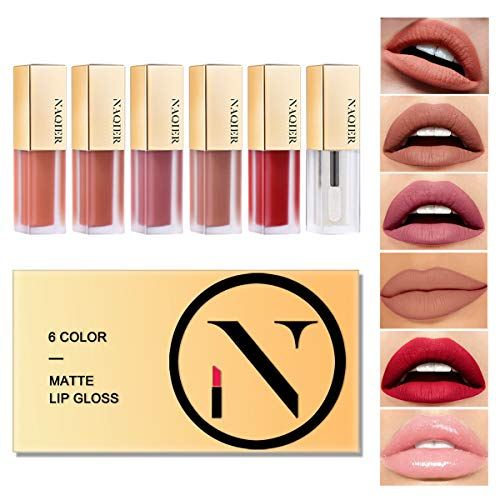 NAQIER Matte Velvet Lip Gloss Set, 6PCS Nude Liquid Lipstick Kit Moisturizer Smooth, Waterproof Lip Cream with Clear Lipgloss for Women gift