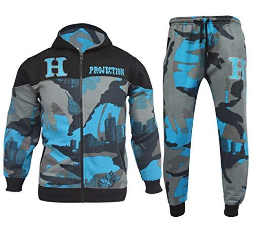 Guba® Jungen Trainingsanzug Camouflage HNL Hoodie und Hose Jogginganzug Sportswear 5-13 Jahre Gr. 9-10 Jahre, Türkis Camo 919