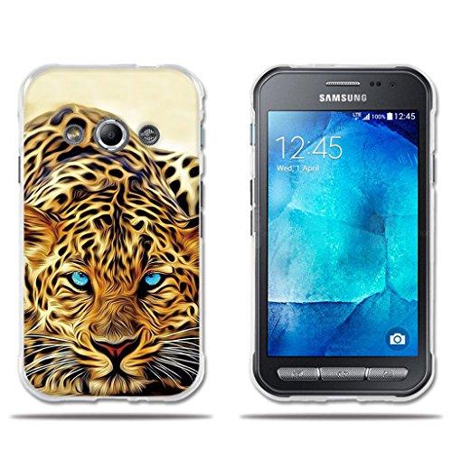 fubaoda Funda Samsung Galaxy Xcover 3 Exótico Dibujo de un Leopardo de Ojos Azules,Amortigua los Golpes, Funda Protectora Anti-Golpes para Samsung Galaxy Xcover 3 (4.5')