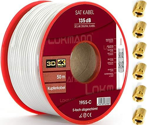 LOKMANN Cavo coassiale in rame puro, 135 dB, schermatura a 5 strati, cavo coassiale, cavo antenna TV, cavo satellitare Full HD, UHD, 4K, 8K + 10 connettori F