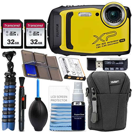 Fujifilm FinePix XP140 Waterproof Digital Camera (Yellow) with Advanced Accessory Bundle Includes 2X 32GB SD Card + Camera Case + Flexible Gripster Tripod + Card Reader + More