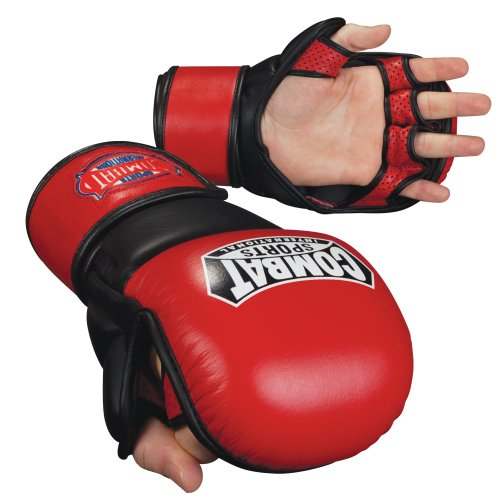 Combat Sports Safety MMA Training Sparring Gloves, Red-Black, Regular