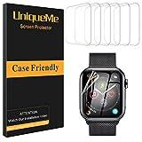 UniqueMe [6 pièces] Protection écran pour Apple Watch 44mm (séries 5), [Adsorption anhydre] [Film Flexible] Soft HD TPU Clear...