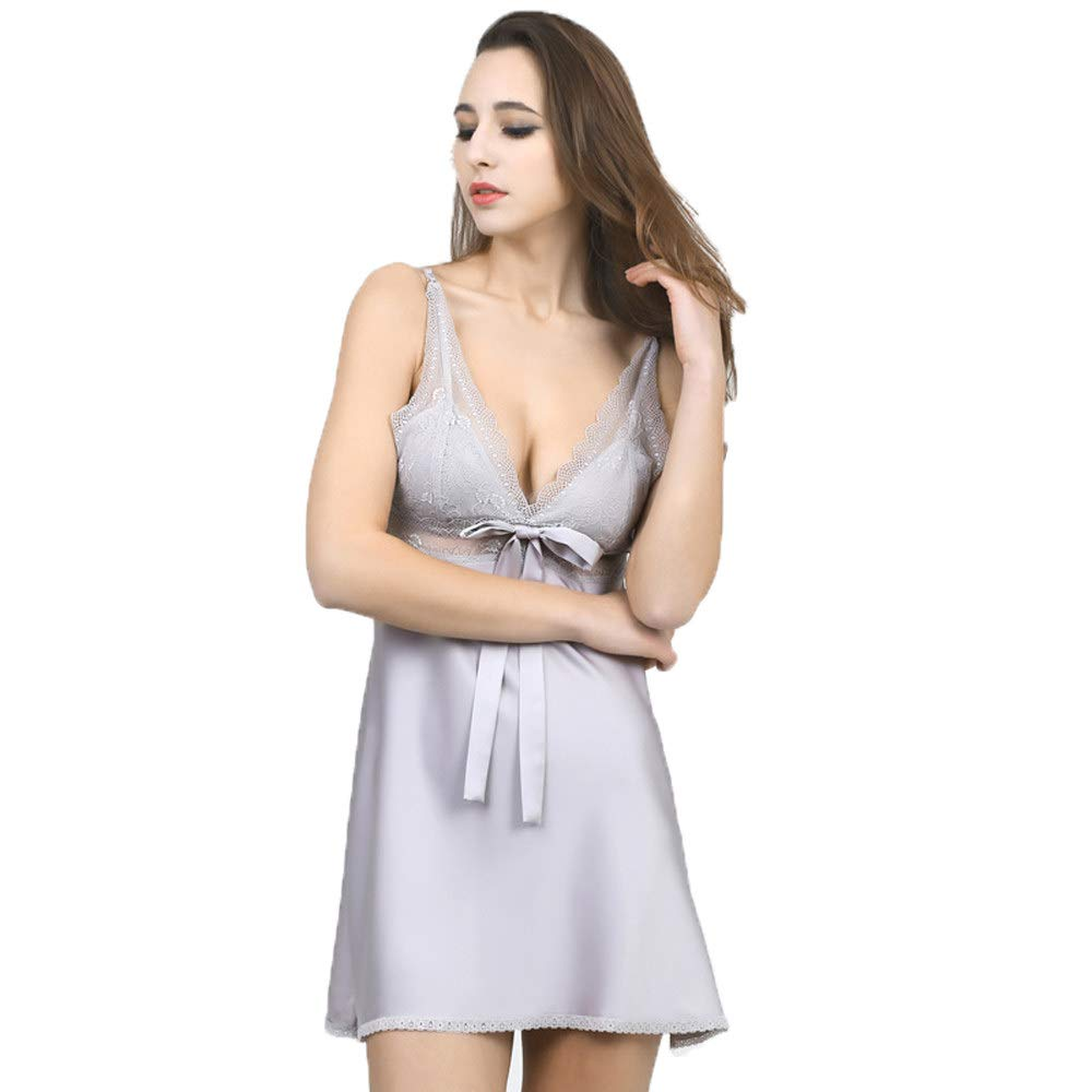 Forall-Ms Ropa De Dormir Sexy para Mujeres, Ropa Interior De Encaje para Mujeres CamisóN De Raso Camisa De Dormir Camisas Tallas Grandes,Grey-XL: Amazon.es: Hogar
