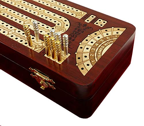 12 1/2' 2 Track Continuous Cribbage Board W/ Card Storage Maple Tracks on Bloodwood Corner & Games Won