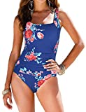 Firpearl Swimsuits for Women Ruched Tummy Control One Piece Swimsuit US6 Blue&Red Floral