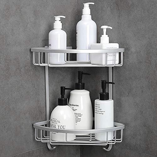 Hoomtaook Estanteria Baño para Esquinas de Baño Ducha No Drill Viene con una Caja de jabón 2 Niveles Plata