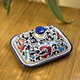Craftghar Handmade Ceramic Butter Box Dish with Lid Blue Pottery for Dinning and Kitchen,Multi Color Suitable for 100 Grams Butter Dish Serving Set