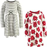 Touched by Nature Girls, Toddler, Baby and Womens Organic Cotton Short-Sleeve and Long-Sleeve Dresses, Poinsettia Long Sleeve, 12 Years