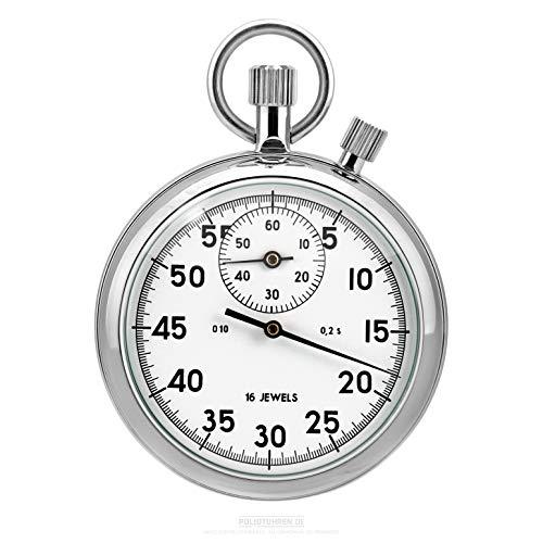 Cronómetro mecánico ruso con tope de adición – Blanco – 1/5 seg, 30 min resistente analógico Rusia Sport