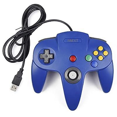 iNNEXT Classic N64 Controller Gamepad,Retro N64 Bit USB Controller PC Gamepad for Windows/Mac/Linux/Raspberry pi3 Blue