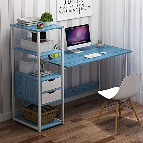 Zjcpow Mesa de estudio de escritorio para computadora portátil, escritorio con estantes de almacenamiento, 2 cajones, mesa de estudio