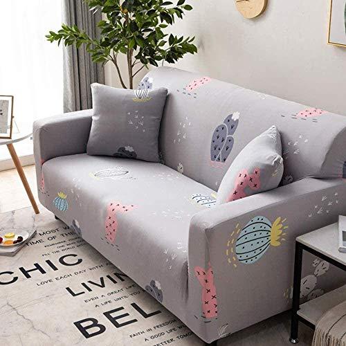 Lsqdwy Sofabezug, Bezug Schonbezüge für 1 2 3 4-Sitzer Pflanzengeometrisches Muster Nordic Style Waschbare elastische Stoffbezüge Pet Sofa-1 Seater_Grey Cactus