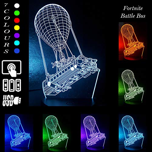 Battle Bus Game 3D LED Lamp RGB Mood Lamp 7 Color Light Hot Air Balloon Night Light for Birthday Holiday Decor Gift (Crack Battle Bus)