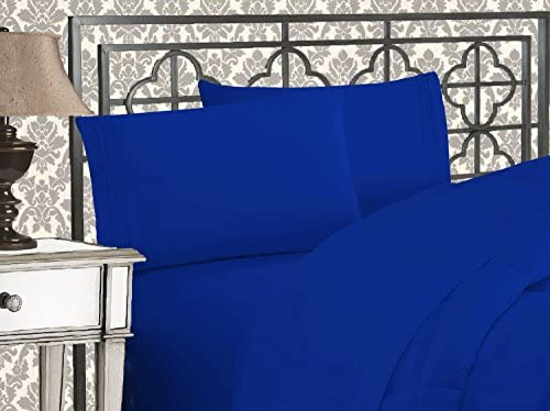 Elegant Comfort Luxurious 1500 Thread Count Egyptian Quality Three Line Embroidered Softest Premium Hotel Quality 4-Piece Bed Sheet Set, Wrinkle and Fade Resistant, Queen, Royal Blue