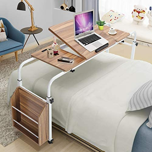Ranking TOP13 Greensen Adjustable Overbed Max 52% OFF Table with Wheels Co Mobile Rolling