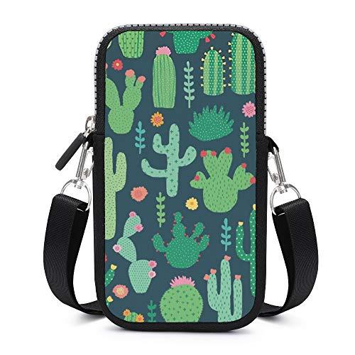 Handy-Umhängetasche mit abnehmbarem Schultergurt, Kaktus und Blume, verschleißfest, für Handy, Taille, Geldbörse, Fitnessstudio, Mädchen