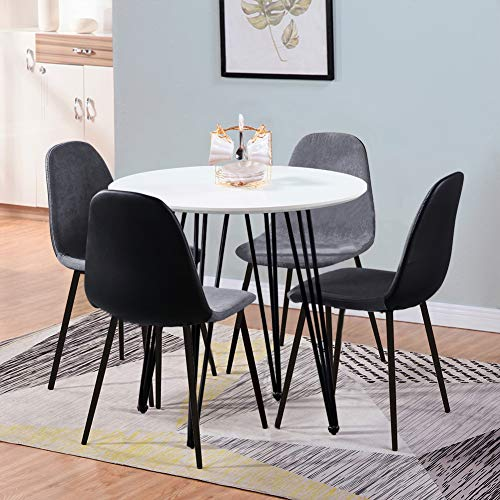 GOLDFAN Modern Dining Table and 4 Chair Set Round Wooden White Table and Soft Red Velvet with PU Leather Chairs for Kitchen, Dining Room