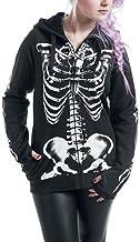 YSSGTT dames Skull Skeleton Print Hoodie Top Lange...