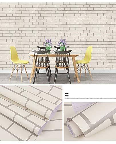 kengbi Einfach zu dekorieren, beliebte, langlebige Tapeten, Ziegelstein-Tapete, wasserfest, selbstklebend, PVC-Wandpapier für den Innenbereich, Farbe: Hellgrau, Maße: 10 m x 45 cm