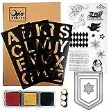 Opia CRAFTS DIY Christmas Pennant Banner Clear Stamp, Die, Stencil & Ink Kit, 25 Piece Set