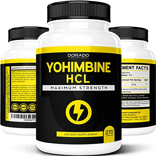 Yohimbine HCL 5mg For Men and Women - Yohimbe Extract - [Extra Strength Supplement] - (270 Capsules) - Zero Fillers - Gluten Free & Non-GMO - USA Made - Quality Guarantee - Tested for Potency & Purity
