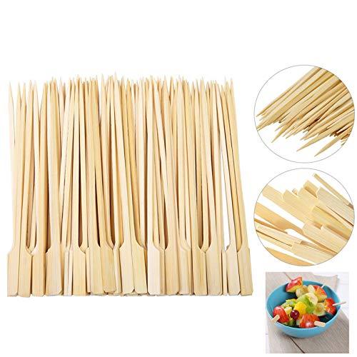 Ruesious Fingerfood-Spieße/Holzspieße Golf (400 Stück) 18 cm, Naturholzspieße aus Bambus, für Grillgut, Pfanne, Fingerfood und Antipasti, stabil, gut zum Greifen durch breiteres Holzende