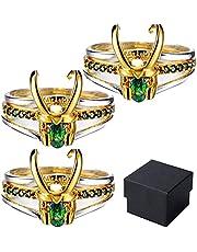 1/2/3PCS Loki Ring, Drie-in-een Loki Helm Ring, Creatieve Superheld Legering Thor Ring, voor Unisex Stapelbare Ringen Volwassen Cosplay Accessoire