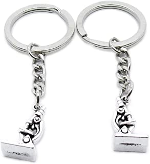 Metal Antique Silver Plated Keychains Keyrings Keytag YK109 Microscope Key Chain Ring