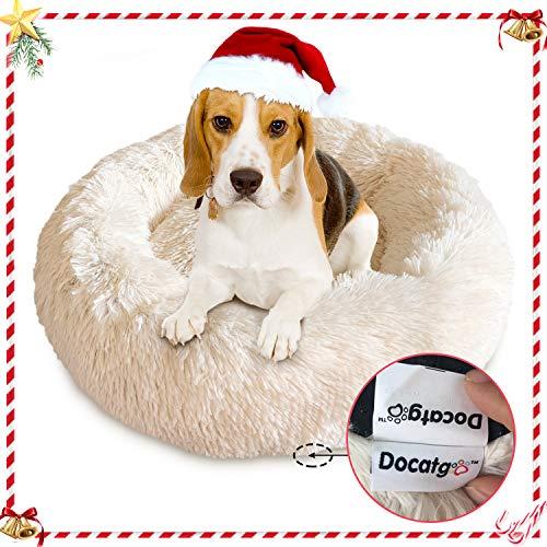 Docatgo Cama para Mascotas, Cama para Gatos Donut para Perros de 60×60 cm, Juguete de Felpa de Piel sintética Pelusa, Cama con cojín para Mascotas para Perros y Gatos de tamaño Mediano