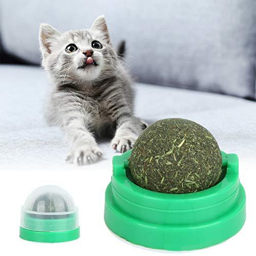 Hoseten Green Cat Supplies Cat Ball Toy, Catnip Ball Toy, Licking Treat Toy for Pet Kitty Kitten Cats