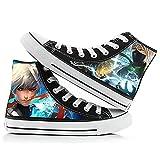 QOOO Naruto High Top Canvas Shoes con Estampado de Dibujos Animados en 3D Zapatos de Lona Planos Naruto Sasuke Student Cartoon Graffiti Zapatillas de Deporte Casuales Zapatillas de otoño,Black 6,44EU