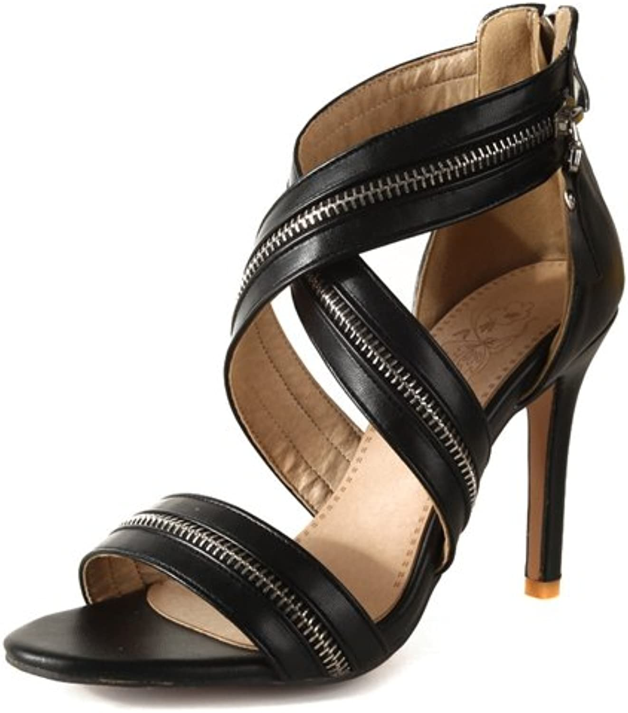 Kvinnliga skor läderette Springaa sommar ny Comfort Sandals Sandals Sandals Stiletto Heel Zipper for Casual Dress Party och Evening Sandals  onlinebutik