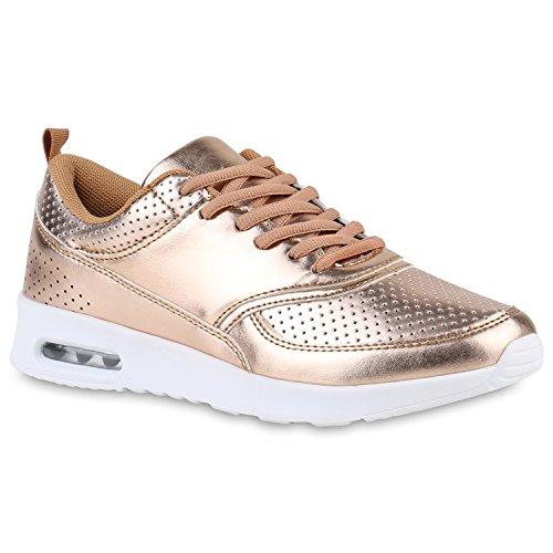 stiefelparadies Damen Sport Runners Sneakers Lauf Fitness Trendfarben Sportliche Schnürer Schuhe 142949 Rose Gold 39 Flandell