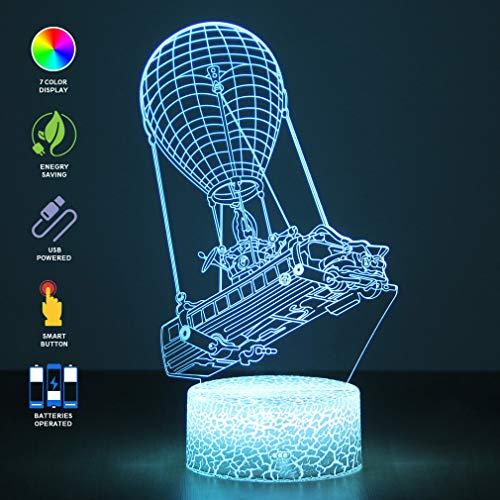 Battle Bus Spiel 3D LED Lampe nachttischlampe RGB Stimmung Lampe 7 Farben Licht Heißluftballon Nachtlicht für Geburtstag Urlaub Dekor Geschenk