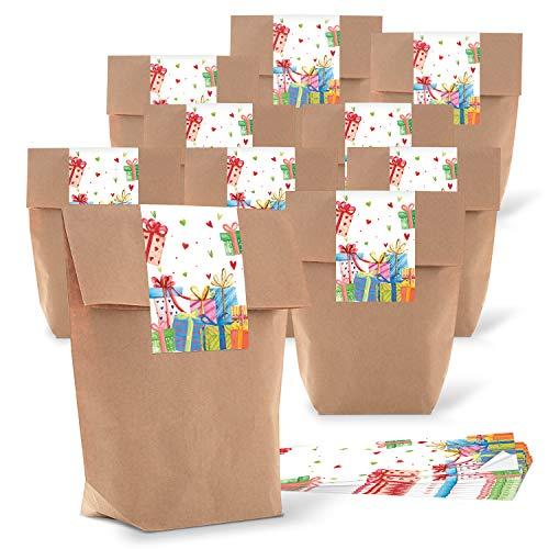 Logbuch-Verlag 10 kleine geschenkzakjes kinderen verjaardag + 10 cadeaustickers - papieren zakje om te verpakken geschenken cadeauzakerl kleurrijk 10 Stück bruin
