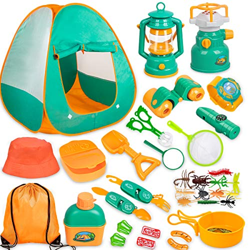 Kids Camping Set with Tent 24pcs - Camping Gear Tool Pretend Play Set for Toddlers Kids Boys Girls Outdoor Toy Birthday Gift