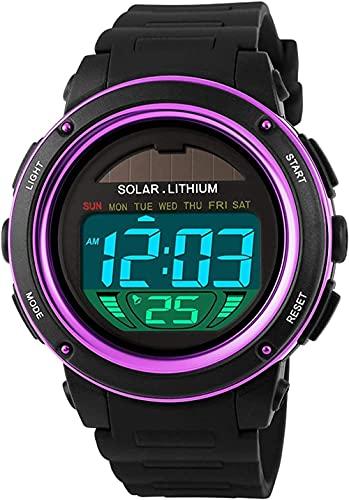 SHIJIAN Reloj solar único creativo digital reloj de silicona correa impermeable led solar al aire libre deportes militares reloj hombres y mujeres regalos de niños-1