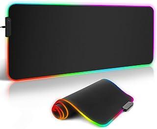 ARCHEER Alfombrilla Gaming, 800 x 300 x4.0 mm Extra Grande Alfombrilla Raton RGB para Juego, Base de Goma Antideslizante y Superficie Suave Resistente al Agua para Gamers, PC y Portátil