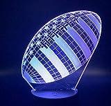Lampe 3D Rugby Football Sport Ballon Jeux Chambre Décoration 7 Couleurs avec Télécommande Meilleur Cadeau de Vacances pour Enfants Lampe de Nuit