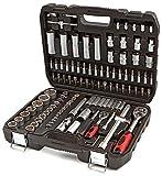 Maletin Estuche de herramientas 1/4' y 1/2' carracas, llaves, vasos, puntas, adaptadores, completo 108 piezas