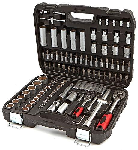 Maletin Estuche de herramientas 1/4' y 1/2' carracas, llaves, vasos, puntas, adaptadores, completo...